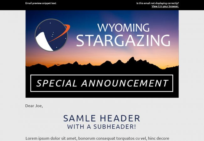 Wyoming Stargazing Email Newsletter Template